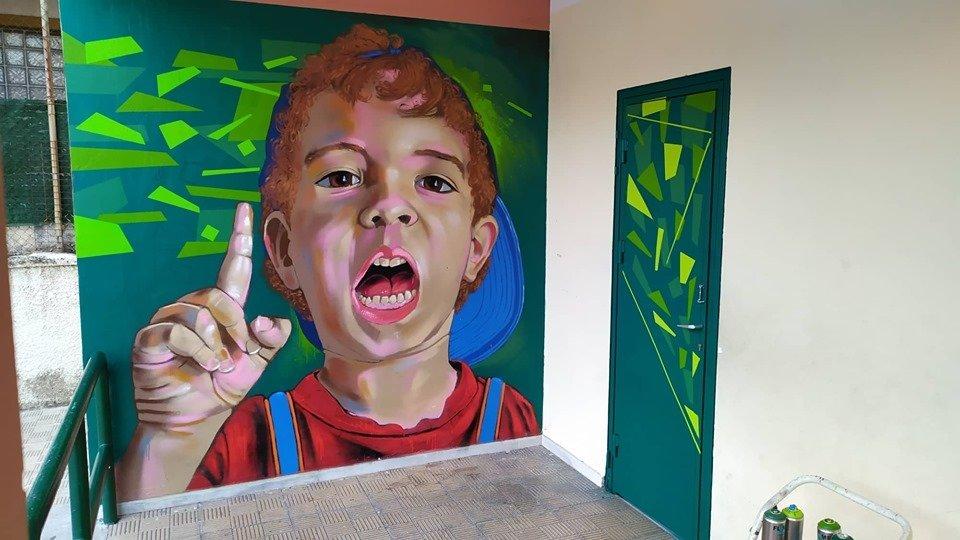 mural of boy