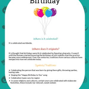 Mini Birthday Learning Packet