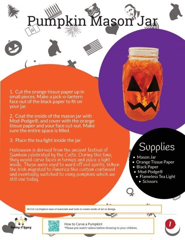 Halloween Learning Packet Mason Jar Craft