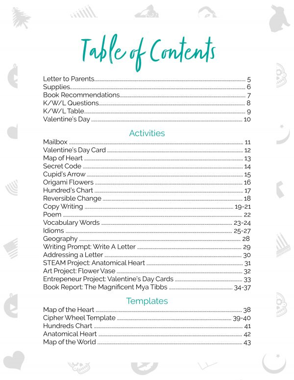 valentine's day table of contents