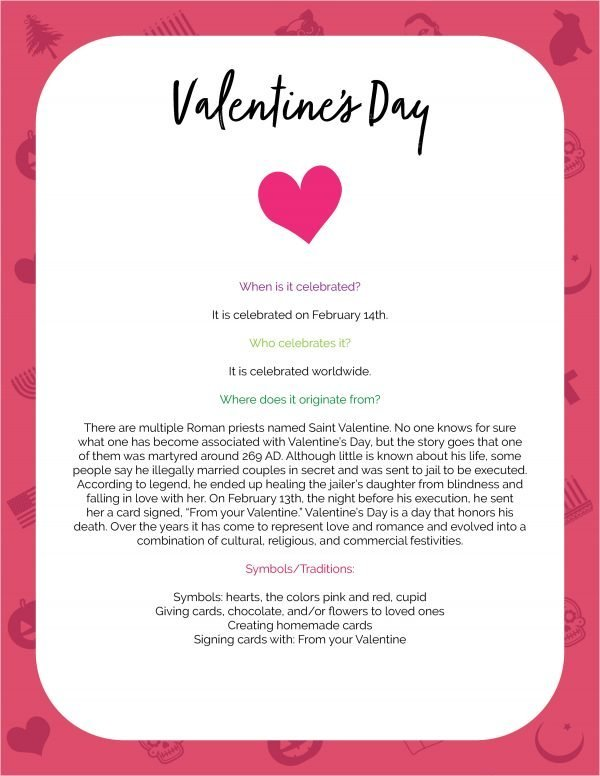 valentine's day origins sheet